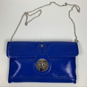 New Directions Blue Patent Vegan Leather Purse